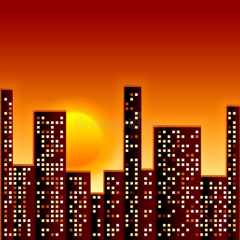 Coucher du soleil dans la ville illustration de vecteur