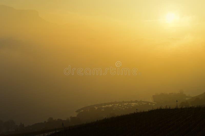 Coucher du soleil dans le brouillard d'or d'automne sur le Lac Léman photo libre de droits