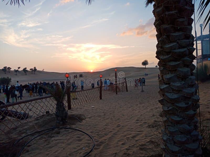 Coucher du soleil dans le désert images libres de droits