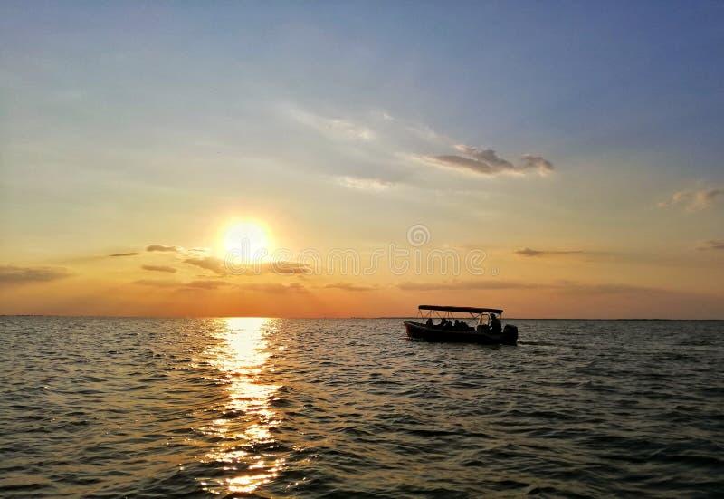 Coucher du soleil dans le delta de Danube photo libre de droits