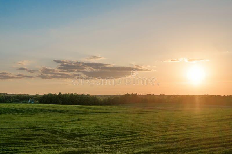 Coucher du soleil dans le domaine photographie stock