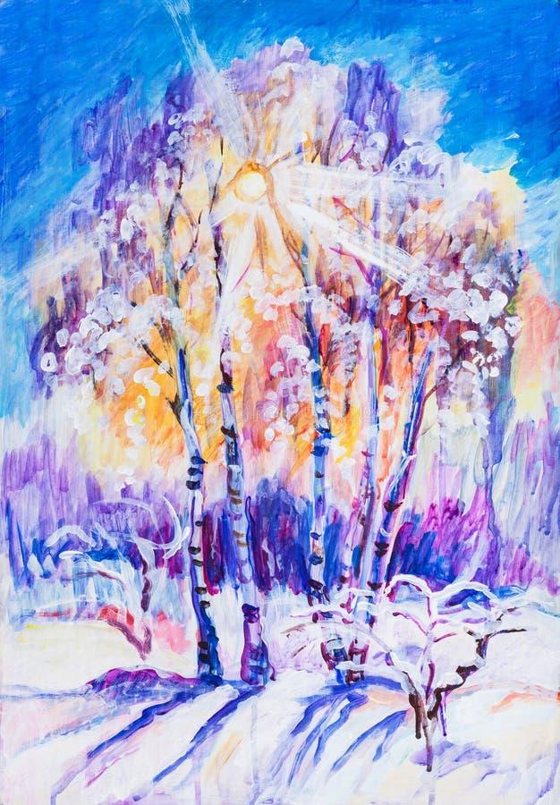 Coucher du soleil dans le jour d'hiver illustration de vecteur