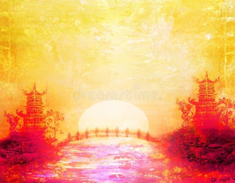 Coucher du soleil dans le lac avec la pagoda illustration libre de droits