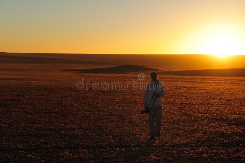 Coucher du soleil dans le Namib (Namibie) photos libres de droits