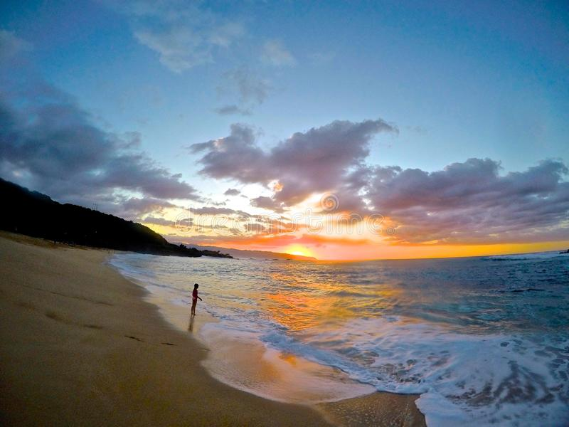 Coucher du soleil dans le paradis photo stock