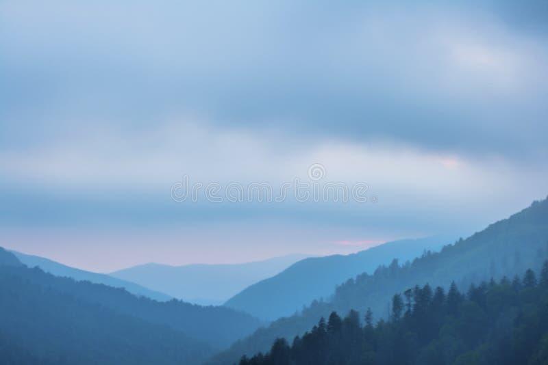 Coucher du soleil dans les montagnes fumeuses parc national, Tennessee, Etats-Unis photographie stock libre de droits