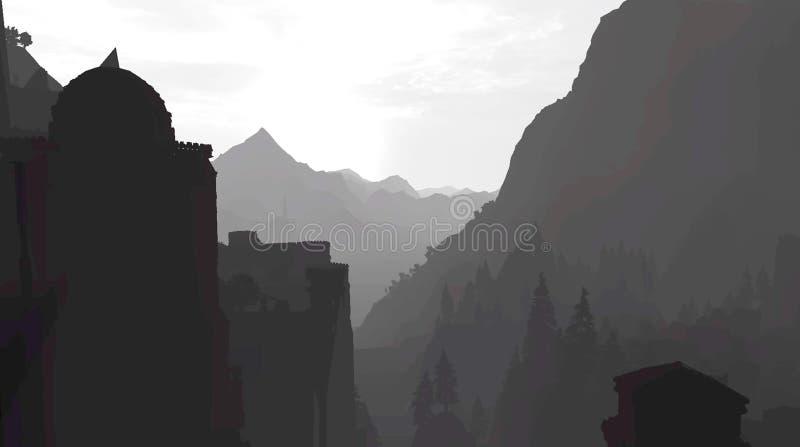 Coucher du soleil dans les montagnes dans la gamme de gris illustration libre de droits