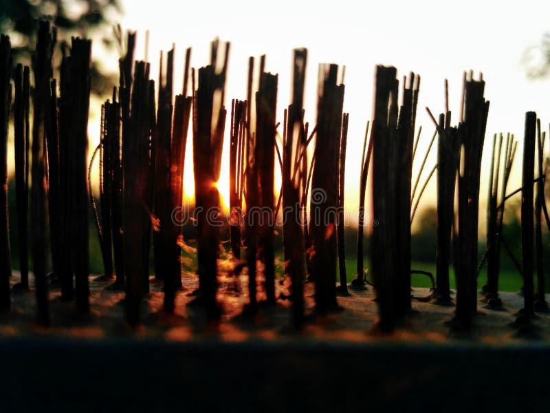 Coucher du soleil dans les transitoires photographie stock