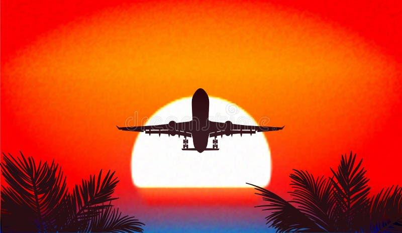 Coucher du soleil dans les tropiques, un voyage en des avions une illustration illustration de vecteur