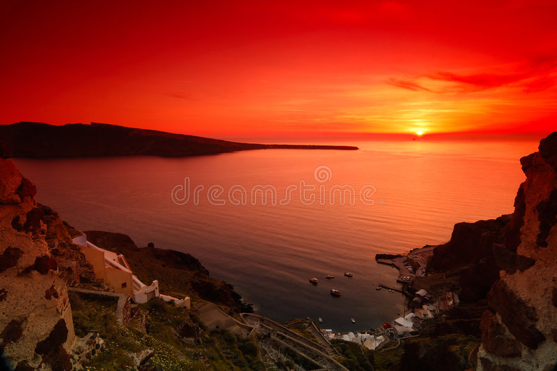 Coucher du soleil dans Santorini images stock