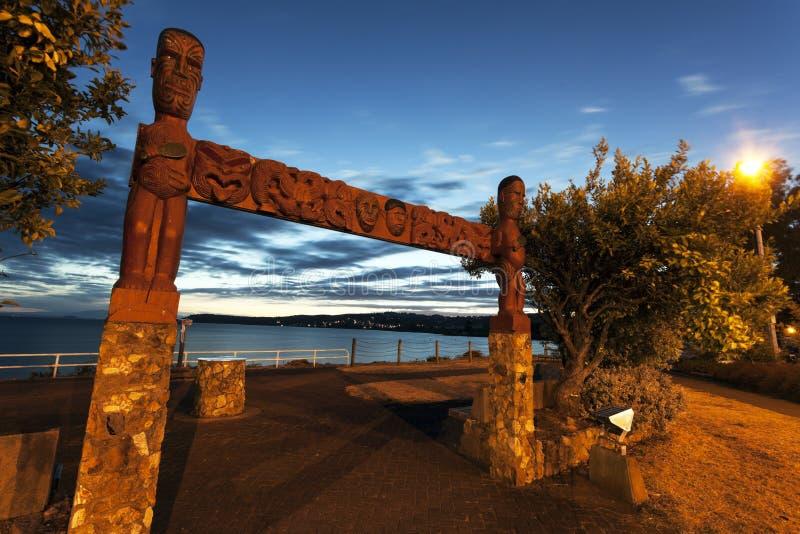 Coucher du soleil dans Taupo, Nouvelle-Zélande photos libres de droits