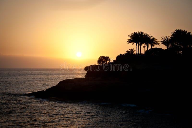 Coucher du soleil dans Tenerife photo libre de droits