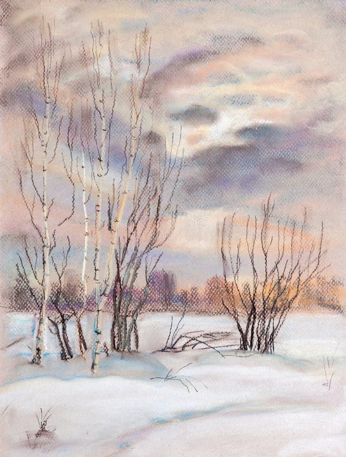 Coucher du soleil dans un domaine d'hiver illustration de vecteur