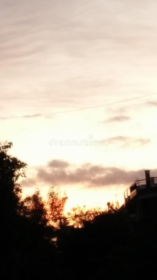 Coucher du soleil dans une soirée à Athènes images stock