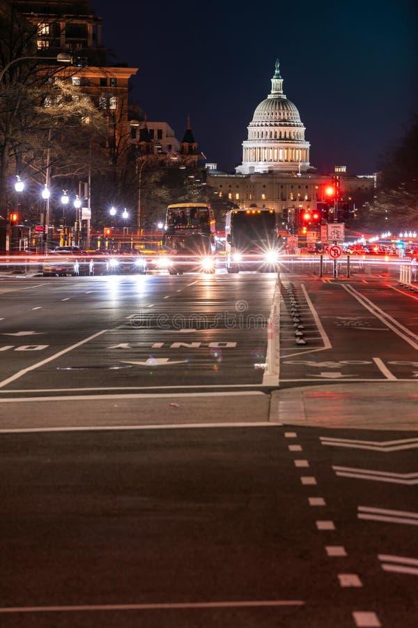Coucher du soleil de bâtiment de capitol des USA images stock