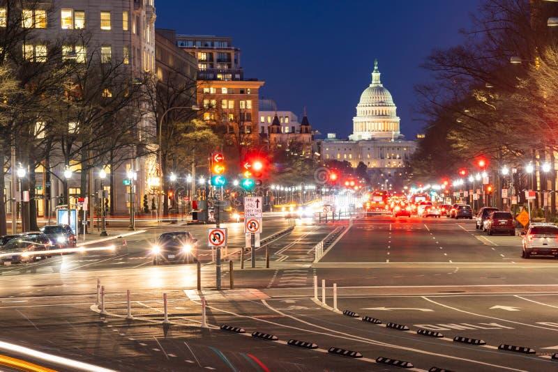 Coucher du soleil de bâtiment de capitol des USA photos libres de droits