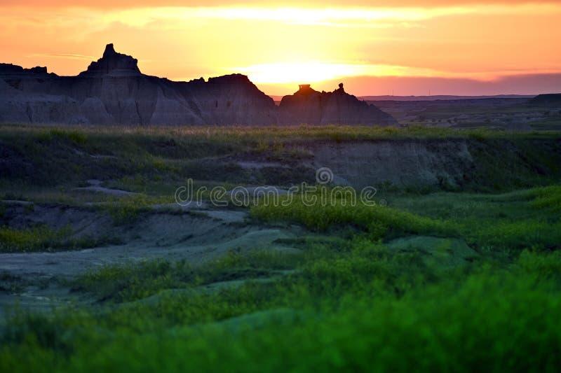 Coucher du soleil de bad-lands photos stock