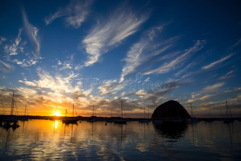 Coucher du soleil de baie de Morro photos libres de droits