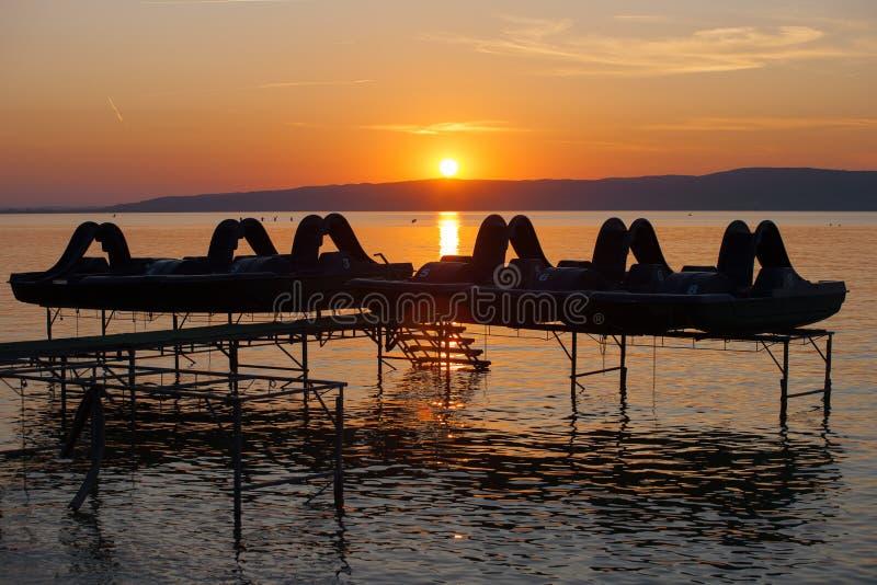 Coucher du soleil de Balaton image stock