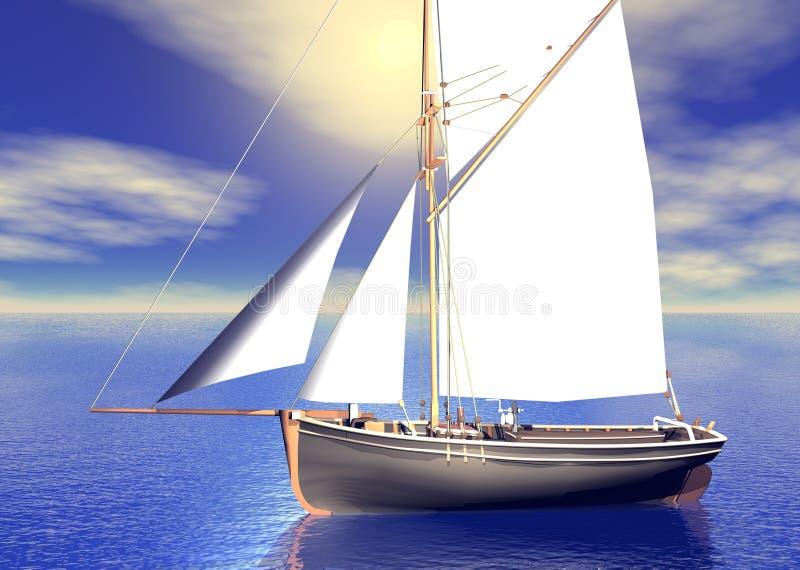 Coucher du soleil de bateau à voiles illustration de vecteur