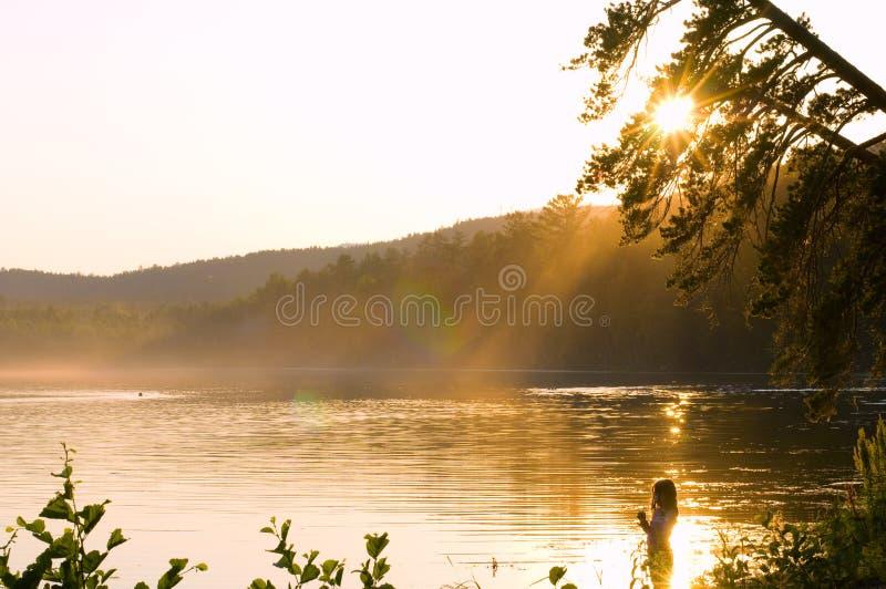 Coucher du soleil de beauté photographie stock