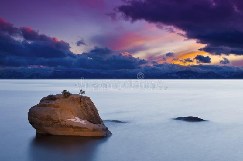 Coucher du soleil de bonzaies de Lake Tahoe photographie stock libre de droits