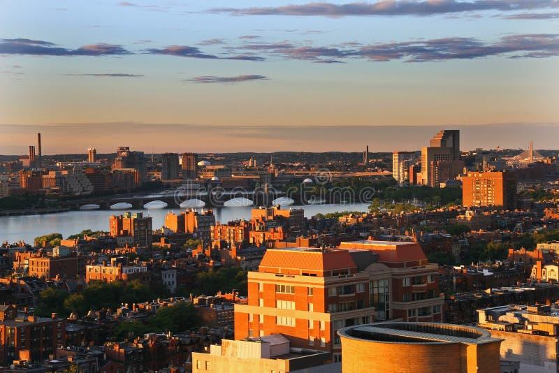 Coucher du soleil de Boston photo libre de droits