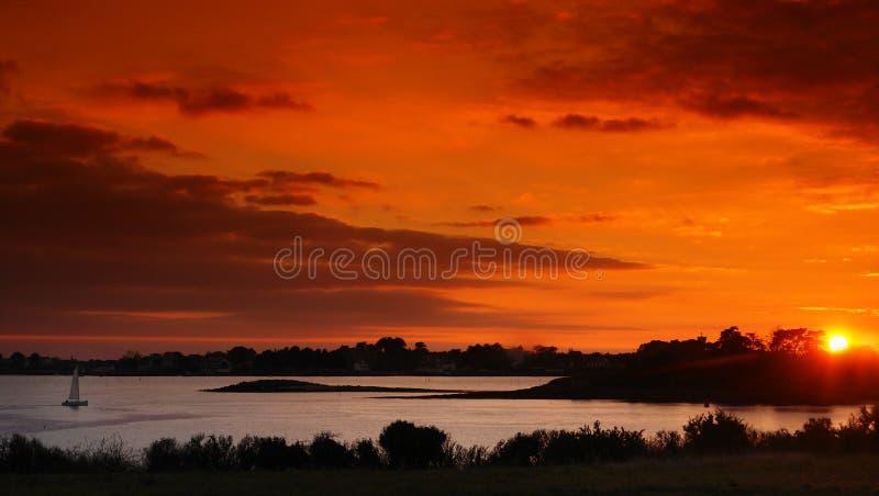 Coucher du soleil de Brittany photos stock