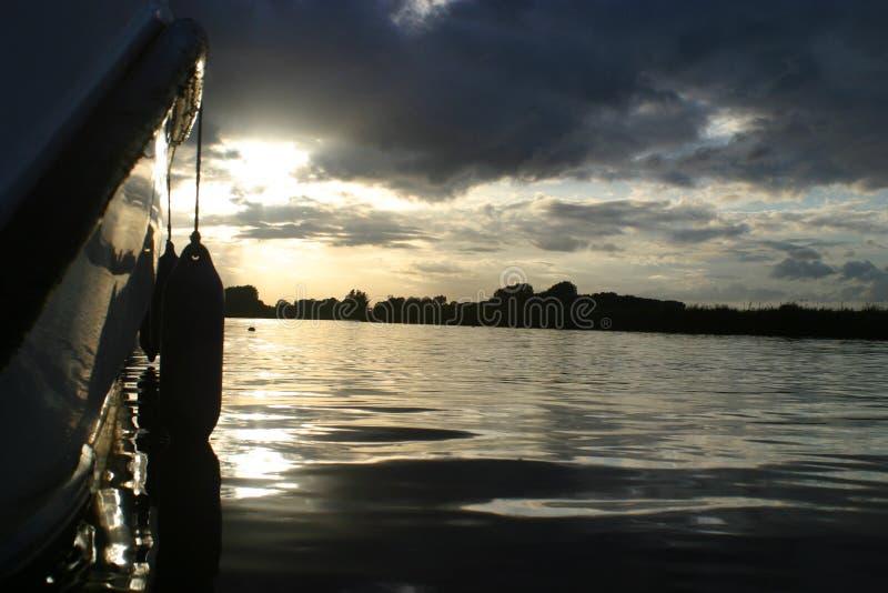Coucher du soleil de Broads images libres de droits