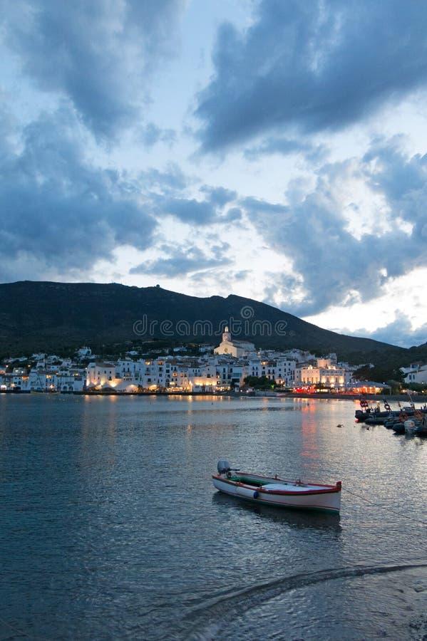 Coucher du soleil de Cadaques Romantisme en mer Méditerranée La villa photos libres de droits