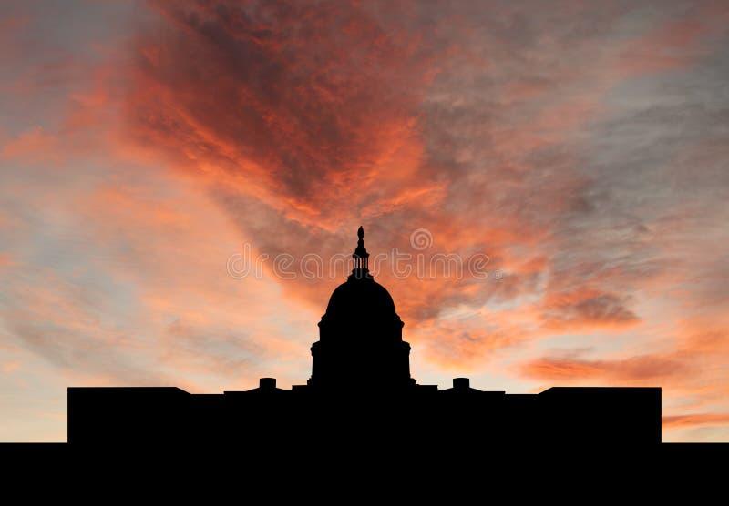 coucher du soleil de capitol de construction nous illustration stock