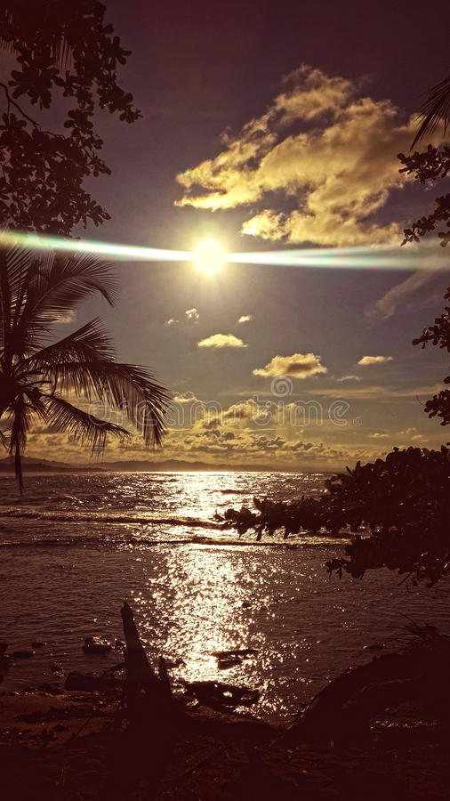 Coucher du soleil de Caribean images stock