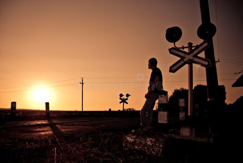 Coucher du soleil de carrefours photographie stock libre de droits