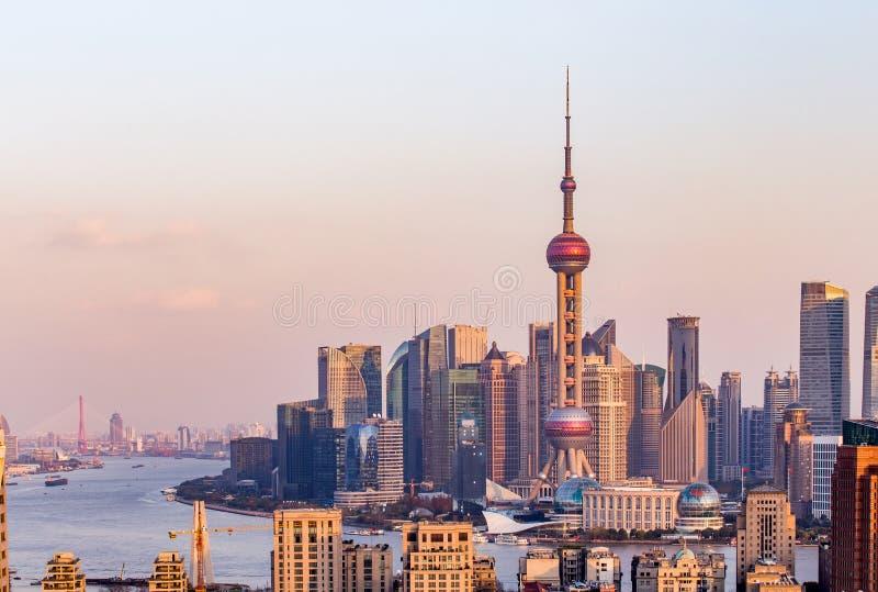 Coucher du soleil de Changhaï image libre de droits