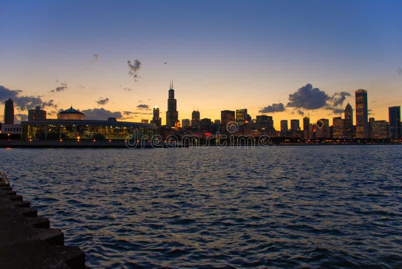 Coucher du soleil de Chicago photographie stock