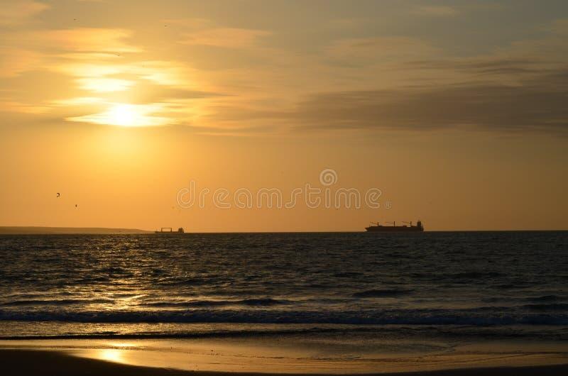 Coucher du soleil de Colan - Piura - Pérou photo stock