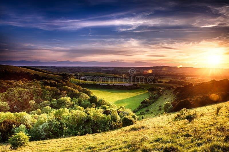 Coucher du soleil de colline de Winchester photo libre de droits