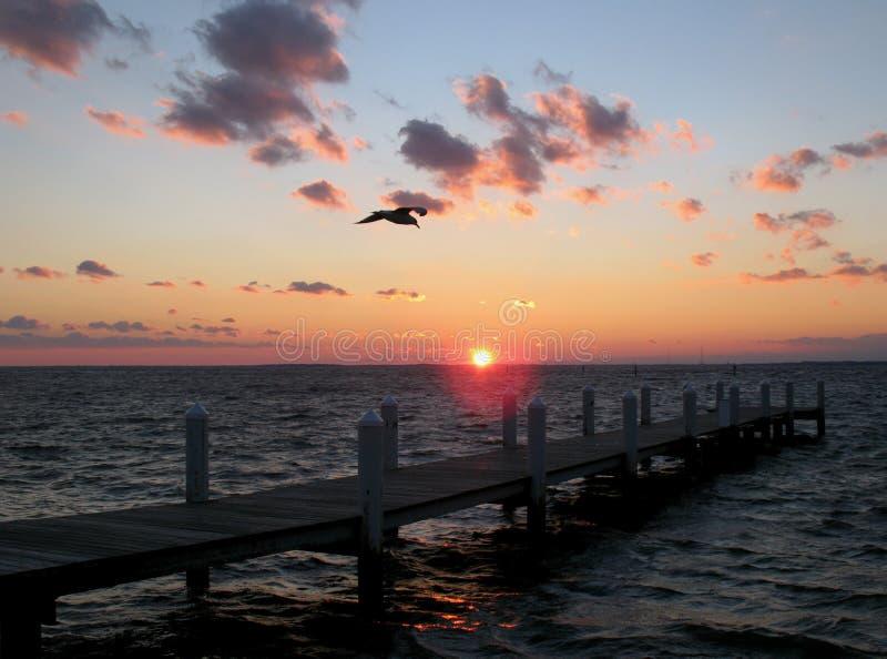 Coucher du soleil de compartiment de chesapeake photos stock