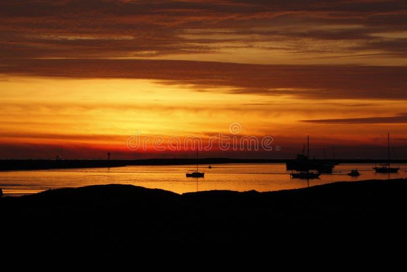 Coucher du soleil de décembre près de Half Moon Bay, Californa images libres de droits
