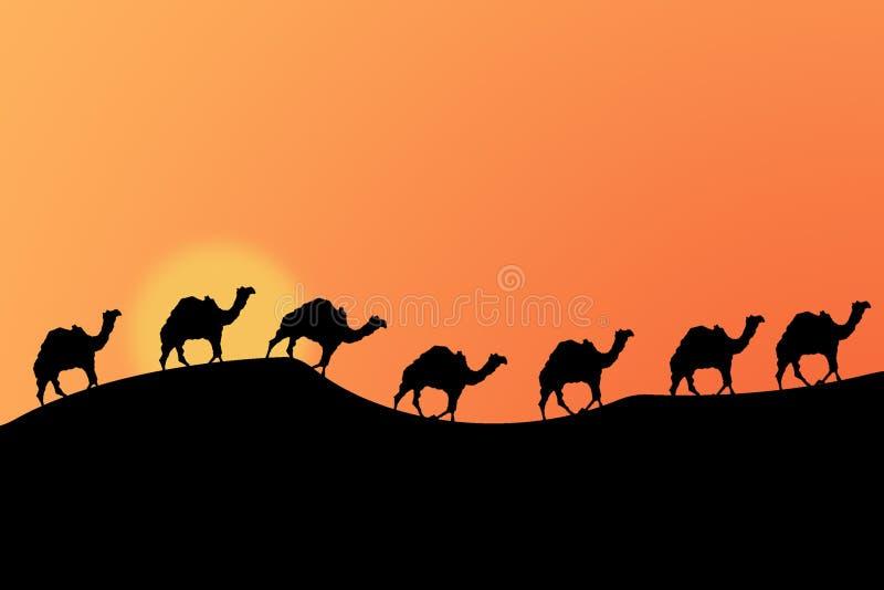 Coucher du soleil de désert illustration libre de droits