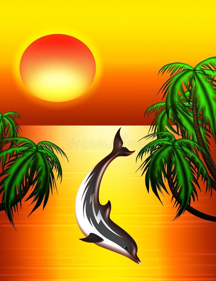 coucher du soleil de dauphin illustration libre de droits