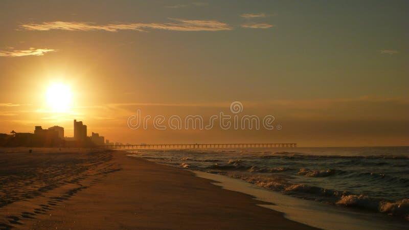 Coucher du soleil de Daytona Beach image stock