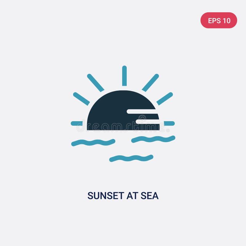 Coucher du soleil de deux couleurs à l'icône de vecteur de mer du concept d'été le coucher du soleil bleu d'isolement au symbole  illustration de vecteur