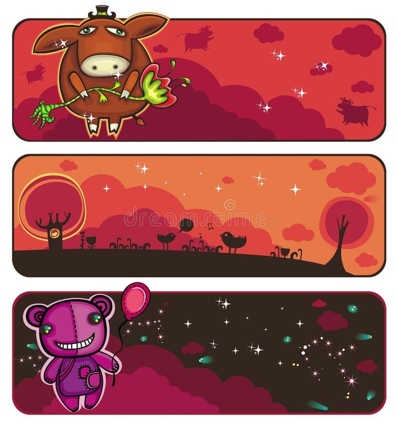 coucher du soleil de drapeaux d'animaux illustration stock