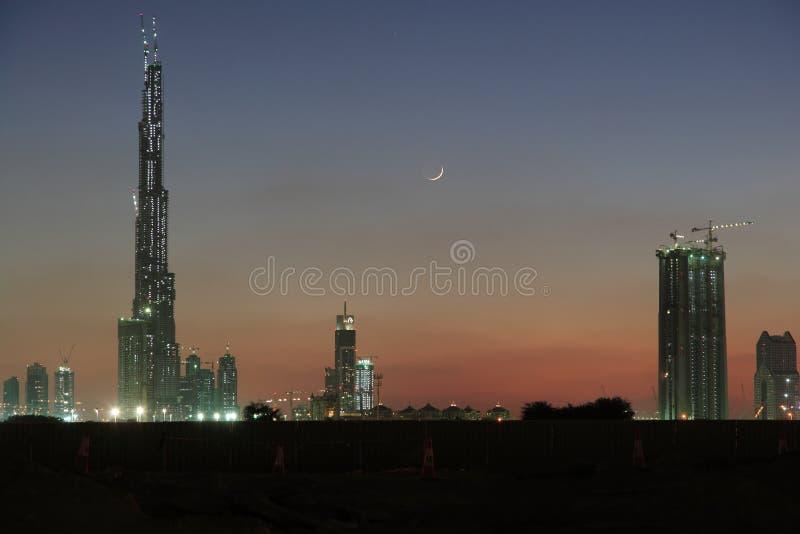 Coucher du soleil de Dubaï image libre de droits