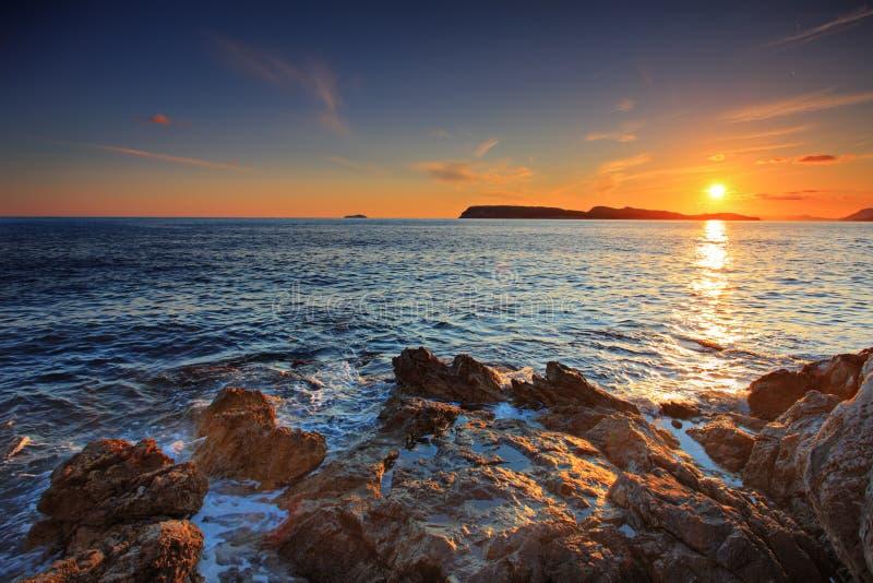 coucher du soleil de dubrovnik photographie stock
