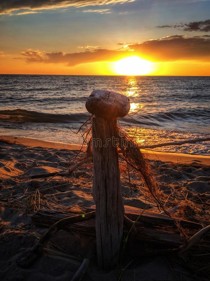 Coucher du soleil de dunes de Nordhouse photo stock
