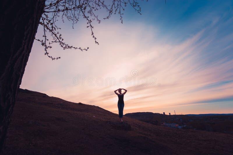 Coucher du soleil de fille image libre de droits