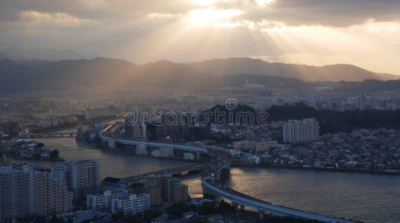 Coucher du soleil de Fukuoka photo libre de droits
