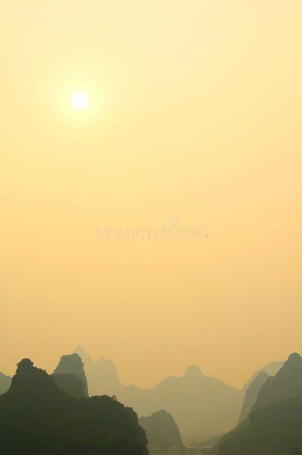 coucher du soleil de guilin photographie stock libre de droits